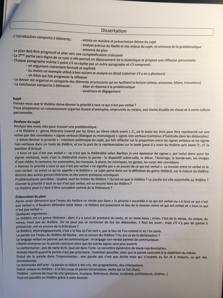Dissertation sur le theatre seconde
